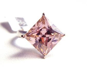 Vintage Sterling Silver Faceted Pink Ice Solitaire Ring - 10 Carat CZ Cocktail Ring - October Birthstone - Size 7 - Hollywood Statement
