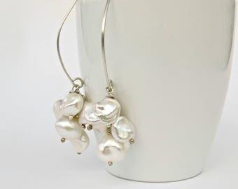 Keishi Pearl Cluster Earrings, Keshi Pearl Earrings in Sterling