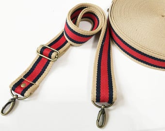 "1.5"" Striped Color Canvas Webbing strap ,Replacemwnt Bag Strap.Adiustable straps"