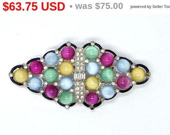 Spring Sale Art Deco Brooch - Multi Colored Diamond Shaped  - Vintage Pastel Moon Glow & Rhinestones