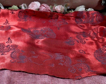Vintage Fabric Red and Black Silk Satin Remnant