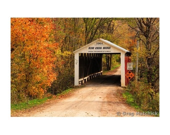 Fine Art Color Rural Americana Photography of the Rush Creek Covered Bridge in Parke County Indiana