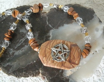 Jasper Pentacle Necklace, wiccan jewelry pagan jewelry mens jewelry wicca witchcraft metaphysical witch pentagram new age wiccan necklace
