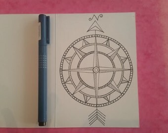 Hand drawn Compass Card - also available as larger print