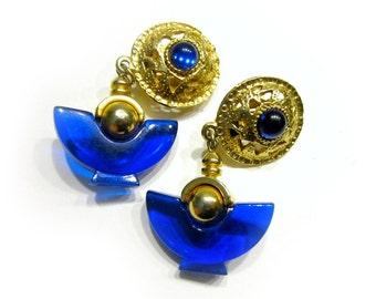 Vintage Geometric Clip Earrings Cobalt Blue Egyptian Earrings Bold Blue Jewelry Under 25 Jewelry Gift Idea