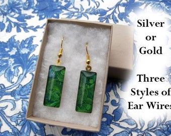 William Morris leaf earrings, acanthus earrings, small glass earrings, art nouveau earrings, green leaves, 1875