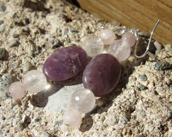 Joy and Happiness, Healing Stone Earrings, Lepidolite, Rose Quartz ,Sterling Silver, Natural Gemstone Synergy Earrings