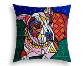 Pitbull Lovers Gift -  Pit bull Art Pillow -   -  - Dog  -  Modern Abstract Art by Heather Galler - 5 sizes to choose from