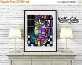50% Off Today- Cat Art Print Poster by Heather Galler (HG7658)