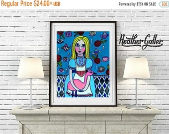 50% Off Today- ALICE Art  Print   Pink Flamingo Alice In Wonderland Art  Print