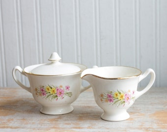 Vintage Cream Sugar Bowl Set, Shabby Cottage Chic Kitchen, Pink Yellow Wildflowers, Made USA, Country Home Decor
