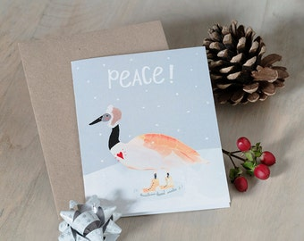 Christmas Card holiday card pack kraft funny christmas cards Narwhal Canada Goose Snowy Owl winter Canadian animals Canada envelopes 10 pack