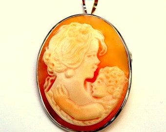 Vintage, Hand Carved Conch Shell, Cameo Brooch/Pendent, Sterling Silver, Mother and Child