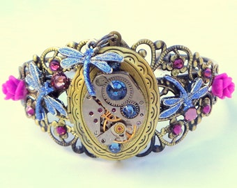 Steampunk Locket Bracelet,Dragonflies,Ruby Jeweled Watch Movement,Purple Swarovski Crystals,Neo Victorian,Vintage Style,Steam Punk Cuff,OOAK