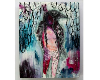 folk art Original crow and girl painting boho mixed media abstract art painting on wood panel 8x10 inches - Listening to her messengers