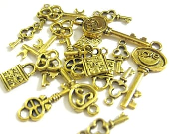 75% Off - Gold Lock and Key Charms Mix Vintage Assortment Pack 12pcs 076