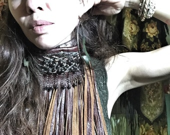 Winter Warrior Queen Leather Neck Fringe with Ritual Bell Accents