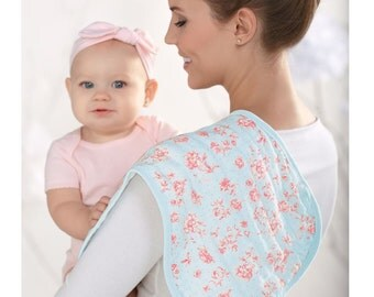Blue Rose Bib n Burp by MudPie®, Baby Snap Bib n Burp