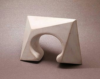 WHITE WOOD CUFF by Helveta Vyotlag, hand carved, unique, wearable art, sculptural, abstract, geometric, thick, statement piece, modern, rad