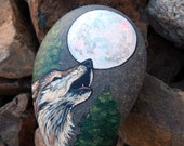 HOWLING WOLF Spirit Guides Hand Painted Rocks Animal Totem Stones Wolf Medicine Rock Art Forest Animals Full MOON Gifts Lotus and Nightshade