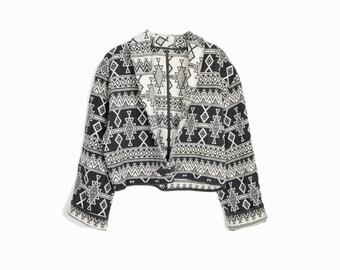 Vintage Boho Tribal Jacket in Black & White / Cropped Southwestern Jacket Top - women's medium/large
