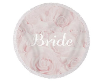 "Blush Pink ""Bride"" Round Beach Towel, large circle towel, gift for bride, bridal shower gift, honeymoon, destination wedding- 1610PKBRIDE"