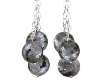 Norwegian Larvikite Triple Danglers - Sterling Silver Earrings