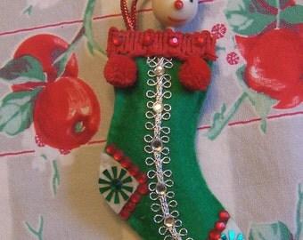 little green felt stocking ornament