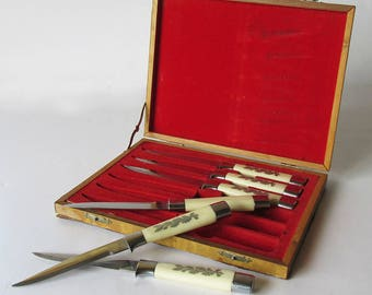 Mid Century Boxed Steak Knife Set - Coast Cutlery Faux Ivory Handles with Inlay