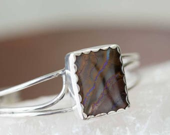 Australian Boulder-Opal Stone Cuff Bracelet in Sterling Silver, Handcrafted