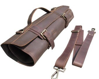 Leather Knife Roll with Fasteners, Leather Chefs Bag, Knife Case, Chef Bag, Knife Bag, Chef's Roll - Tuareg X - Chocolate Brown - KR1e