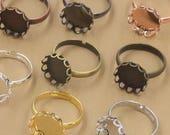 20 Brass Bronze/ Silver/ Gold/ Rose Gold/ White Gold/ Gun-Metal Ring W/ Laced 10mm/ 12mm/ 14mm/ 15mm/ 16mm/ 18mm/ 20mm Round Bezel -Z6089