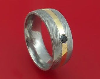 Damascus Steel Ring with 14k Yellow Gold and Black Diamond Custom Made Band