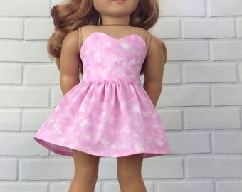 18 inch doll dress to fit american girl size doll. Pretty Pink sweetheart butterfly dress