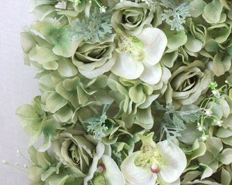 Sale 15x15 FLOWER WALL TILES Diy Green Faux Flower Vintage Wedding Shabby Chic Bridal Shower Backdrop Dahlias Roses Greenery Pantone