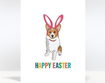 Happy Easter Card with Corgi in Bunny Ears - Dog Easter Cards