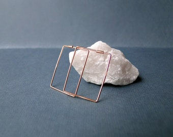 Square hoop earrings, rose gold silver ear loops