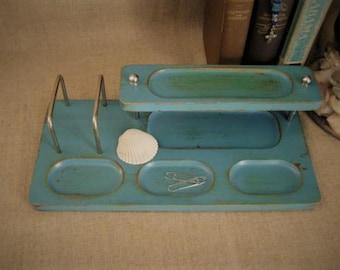 Cottage Chic Turquoise Dresser Valet / Desk Organizer / Desk Caddy / Upcycled Dresser Valet in Turquoise Teal Blue / Shabby Desk Caddy