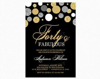 40th Birthday Party Invitation, Milestone Birthday Invitation, Polka Dots, Gold Glitter, Silver Glitter, Personalized, Printable or Printed
