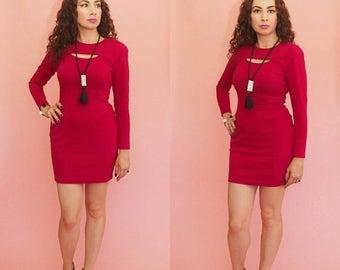 SALE 90s Bodycon Dress // Bandage Dress // Red Mini Dress // Cut Out Dress // Party Dress // Club Wear