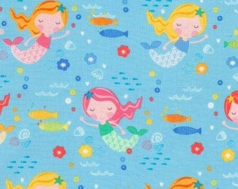 Timeless Treasures ABC's Under The Sea Sky Mermaids Fabric - 1 yard