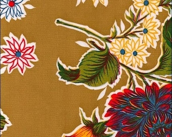 Large Round Oilcloth Tablecloth Mum Tan