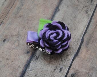 Felt flower  hair clip, felt flowers,plum and lavender