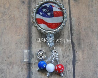 Patriotic American Flag- retractable badge reel, badge id, nurse id badge, eagle, USA, American, 4th of July, teacher