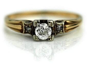Petite Vintage Diamond Engagement Ring .29ctw Old European Cut Filigree Ring Antique Art Deco Ring 14K Two tone Gold Dainty Diamond Ring!