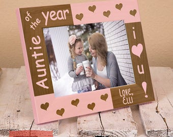 personalized mothers day gift gifts for aunts aunt frame auntie of the year wood engraved frame