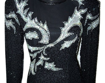 Vintage Lillie Rubin Exclusive Black & Silver Sequin Gown Sz Small