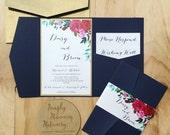Wedding invitation Navy Floral Pocketfold wedding invitation SAMPLE
