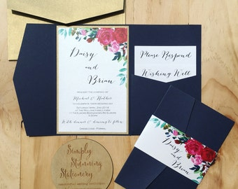 Wedding invitation Navy Floral Pocketfold wedding invitation sample