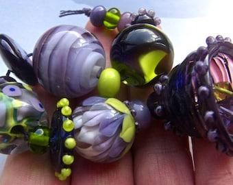 Vineyard - Handmade Lampwork Bead Set (15) by Anne Schelling, SRA